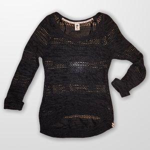 ROXY beeezy gray Sweater long sleeved Top SZ L